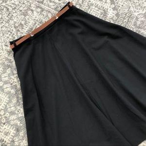 Zara Basic A-Line Belted Black Midi Skirt